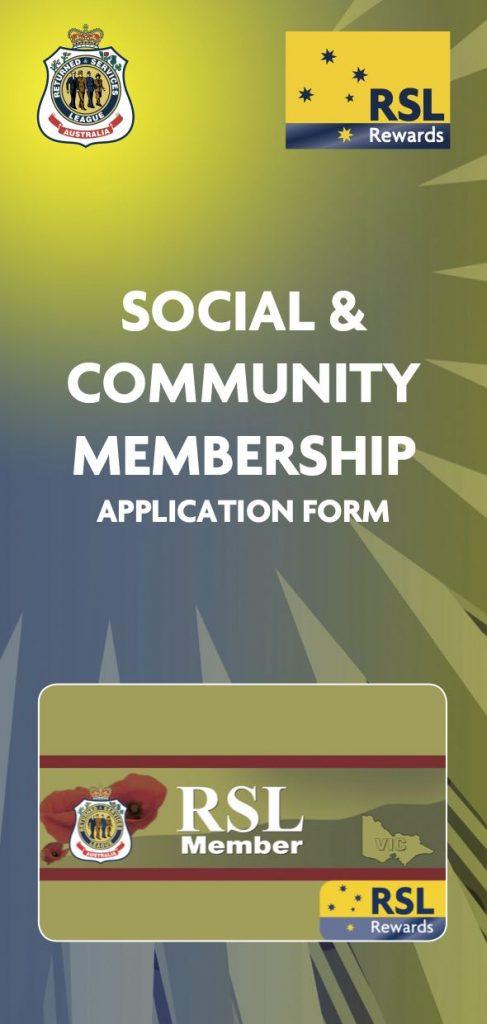 RSL Membership form Social and Community